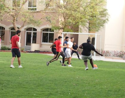 Football match between the regular and exchange bachelor students